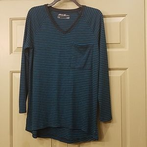 Eddie Bauer navy and teal striped shirt